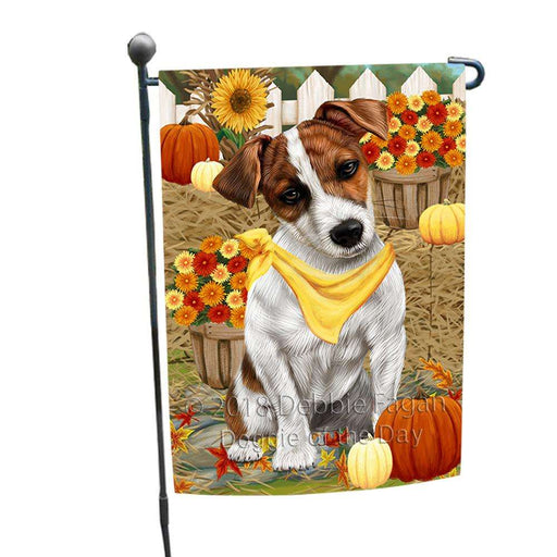 Fall Autumn Greeting Jack Russell Terrier Dog with Pumpkins Garden Flag GFLG0648