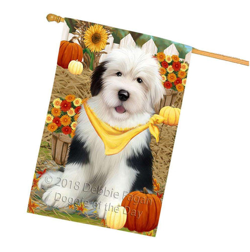 Fall Autumn Greeting Old English Sheepdog with Pumpkins House Flag FLG50803