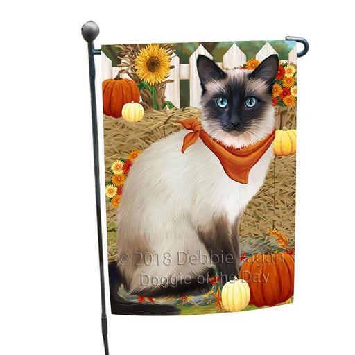 Fall Autumn Greeting Siamese Cat with Pumpkins Garden Flag GFLG52289