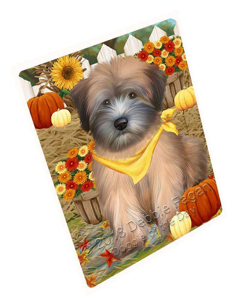 "Fall Autumn Greeting Wheaten Terrier Dog With Pumpkins Magnet Mini (3.5"" x 2"") MAG61158"