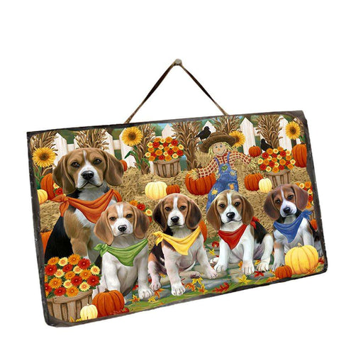 Fall Festive Gathering Beagles Dog with Pumpkins Wall Décor Hanging Photo Slate SLTH50610