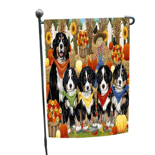 Fall Festive Gathering Bernese Mountain Dogs with Pumpkins Garden Flag GFLG0505