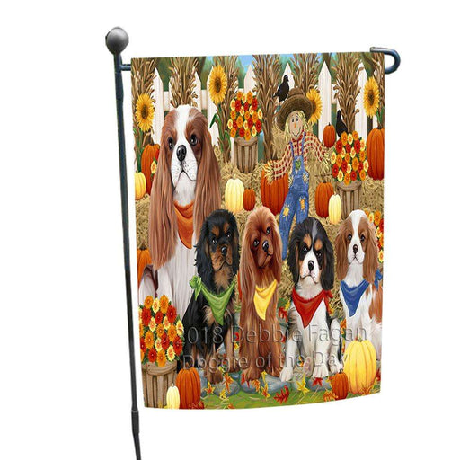 Fall Festive Gathering Cavalier King Charles Spaniels Dog with Pumpkins Garden Flag GFLG0516