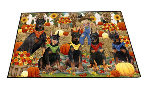 Fall Festive Gathering Doberman Pinschers Dog with Pumpkins Floormat FLMS50718