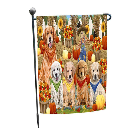 Fall Festive Gathering Golden Retrievers Dog with Pumpkins Garden Flag GFLG0526