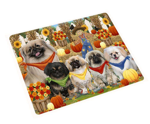 Fall Festive Gathering Pekingeses Dog with Pumpkins Cutting Board C55986