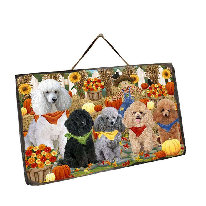 Fall Festive Gathering Poodles Dog with Pumpkins Wall Décor Hanging Photo Slate SLTH50782