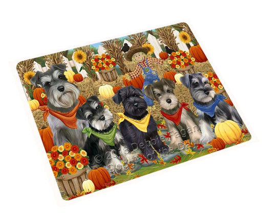 Fall Festive Gathering Schnauzers Dog with Pumpkins Cutting Board C56427
