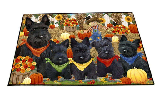 Fall Festive Gathering Scottish Terriers Dog with Pumpkins Floormat FLMS50793