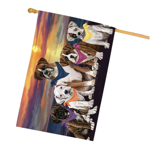 Family Sunset Portrait Boxers Dog House Flag FLG50258