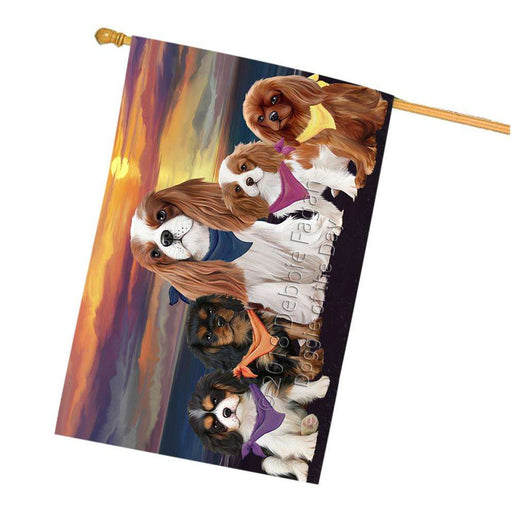 Family Sunset Portrait Cavalier King Charles Spaniels Dog House Flag FLG50264