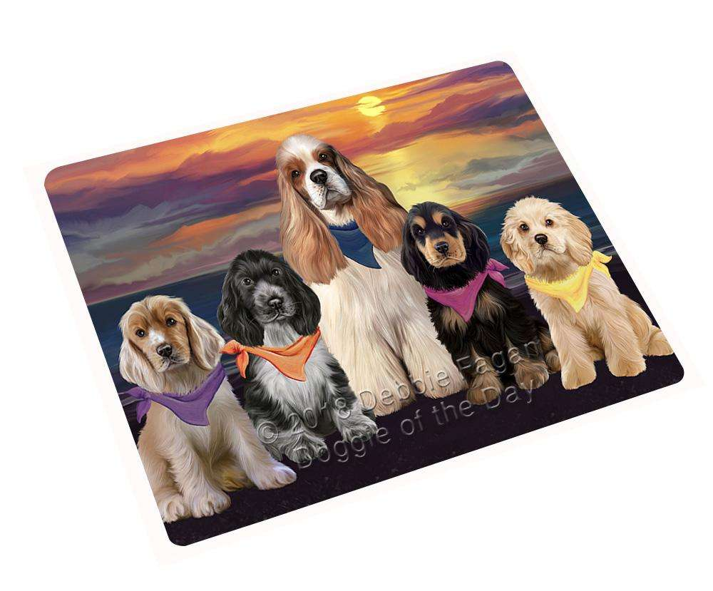 "Family Sunset Portrait Cocker Spaniels Dog Magnet Small (5.5"" x 4.25"") mag61545"