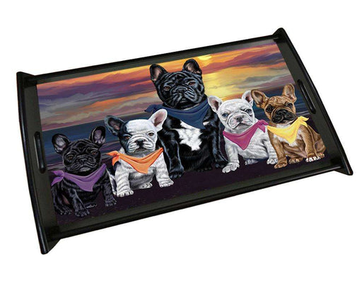 Family Sunset Portrait French Bulldogs Wood Serving Tray TRP48562
