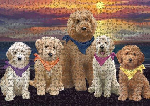 Family Sunset Portrait Goldendoodles Dog Puzzle with Photo Tin PUZL61386
