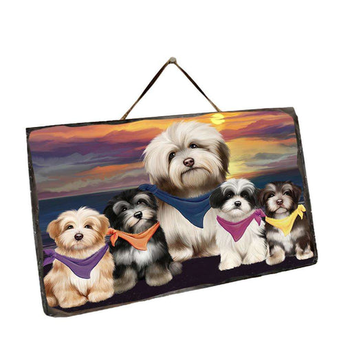 Family Sunset Portrait Havaneses Dog Wall Décor Hanging Photo Slate SLTH50253