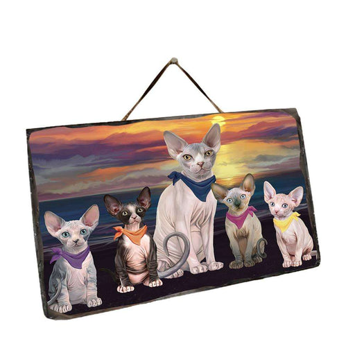 Family Sunset Portrait Sphynx Cats Wall Décor Hanging Photo Slate SLTH52493