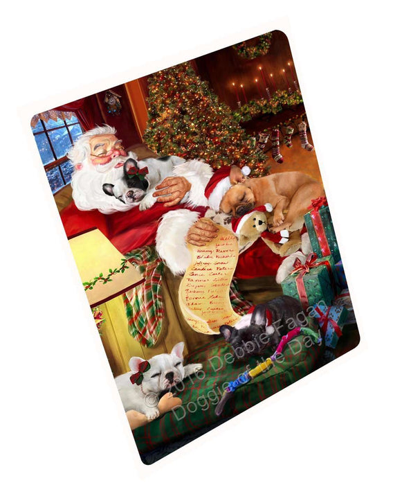 French Bulldog Dog and Puppies Sleeping with Santa Magnet