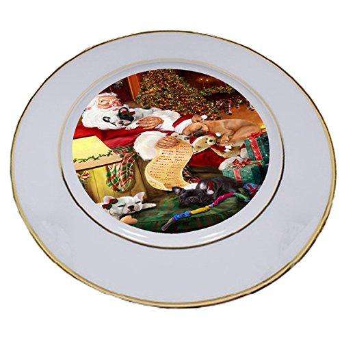 French Bulldog Dog and Puppies Sleeping with Santa Porcelain Plate