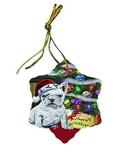 French Bulldog Dog Christmas Snowflake Ceramic Ornament