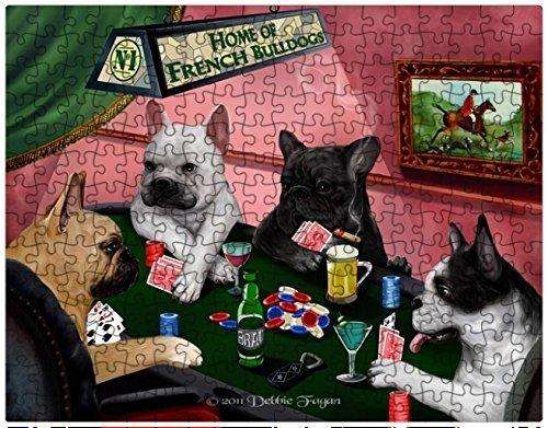 French Bulldog Dogs Playing Poker 500 Pc. Puzzle with Photo Tin