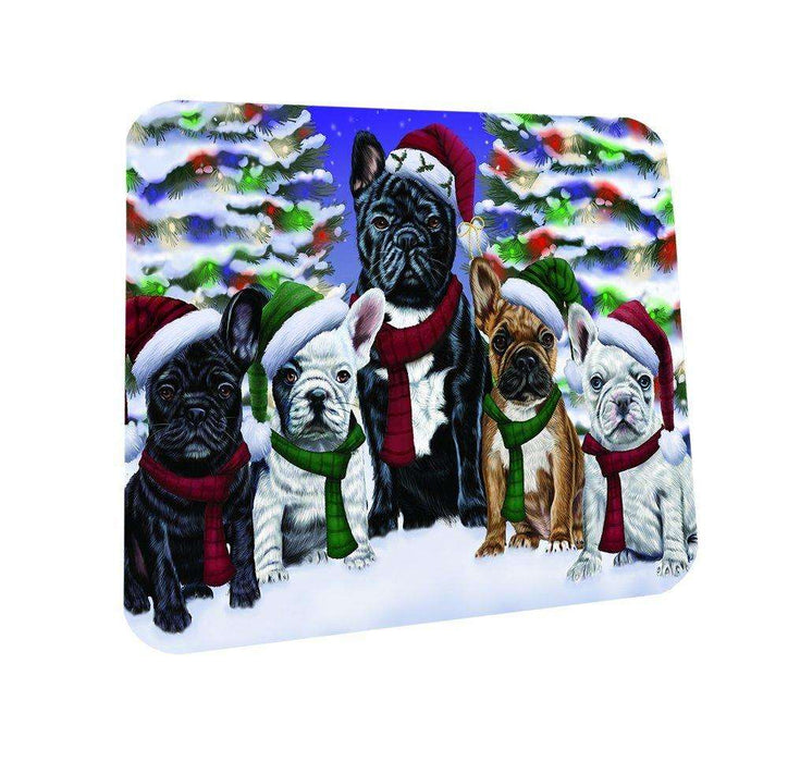 French Bulldogs Dog Christmas Family Portrait in Holiday Scenic Background Coasters Set of 4