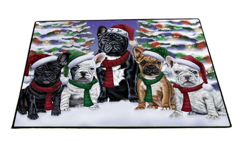 French Bulldogs Dog Christmas Family Portrait in Holiday Scenic Background Indoor/Outdoor Floormat