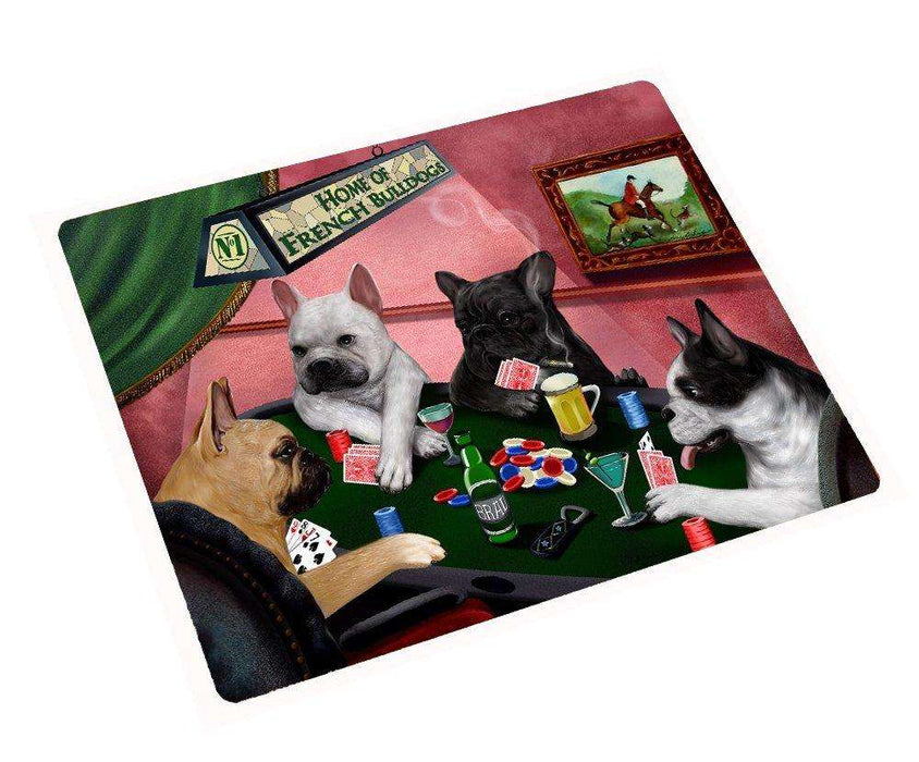 French Bulldogs Playing Poker Tempered Cutting Board