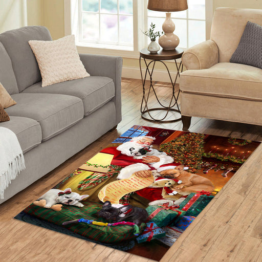 Santa Sleeping with French Bulldog Dogs Area Rug