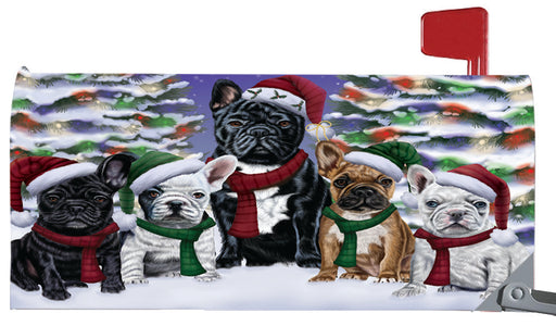 Magnetic Mailbox Cover French Bulldogs Christmas Family Portrait in Holiday Scenic Background MBC48223