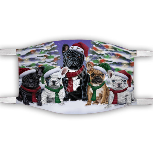 French Bulldogs Christmas Family Portrait in Holiday Scenic Background Face Mask FM48345