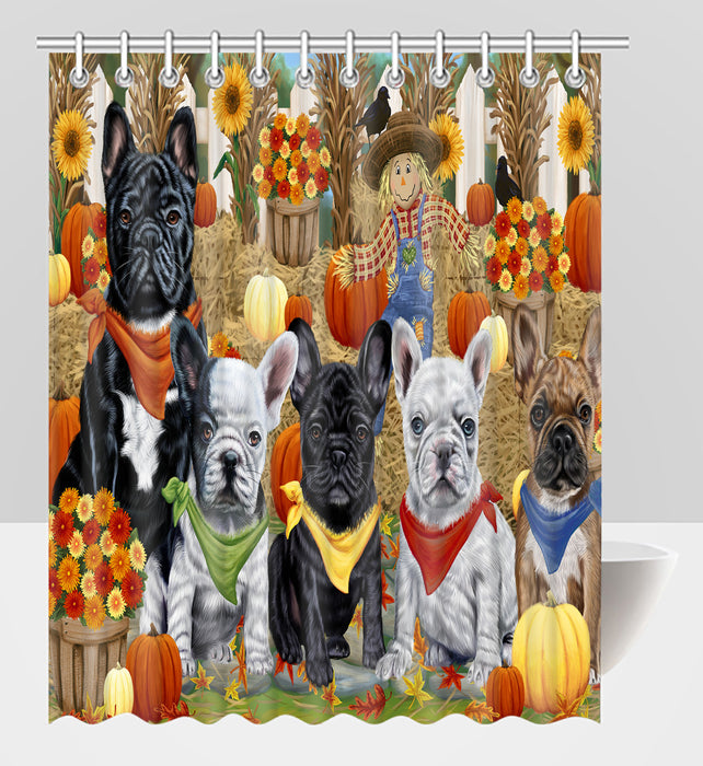 Fall Festive Harvest Time Gathering French Bulldogs Shower Curtain