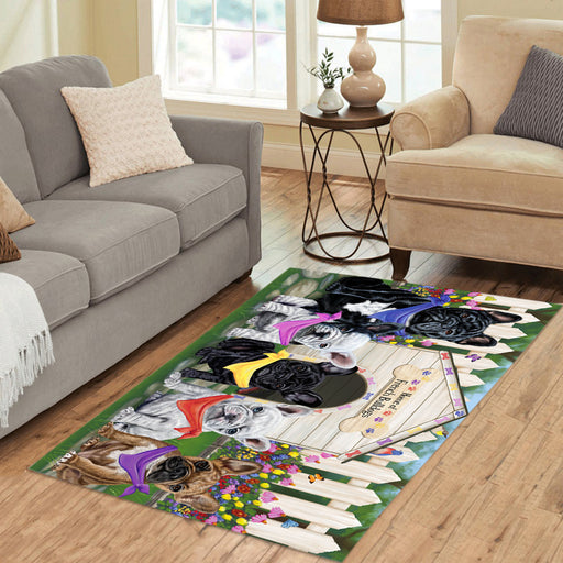 Spring Dog House French Bulldogs Area Rug