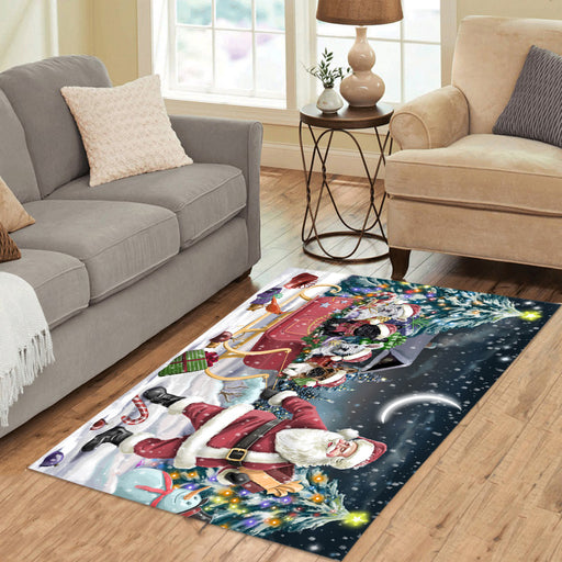 Santa Sled Dogs Christmas Happy Holidays French Bulldogs Area Rug