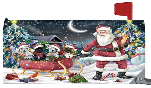 Magnetic Mailbox Cover Santa Sled Christmas Happy Holidays French Bulldogs Dog MBC48157