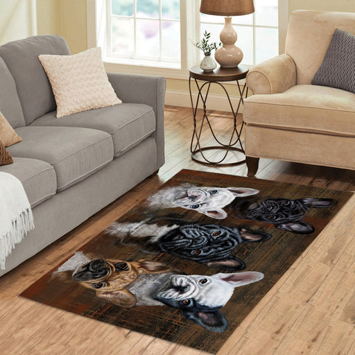 Rustic French Bulldogs Area Rug