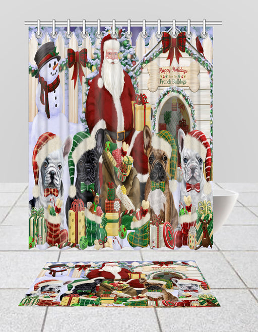 Happy Holidays Christma French Bulldogs House Gathering Bath Mat and Shower Curtain Combo