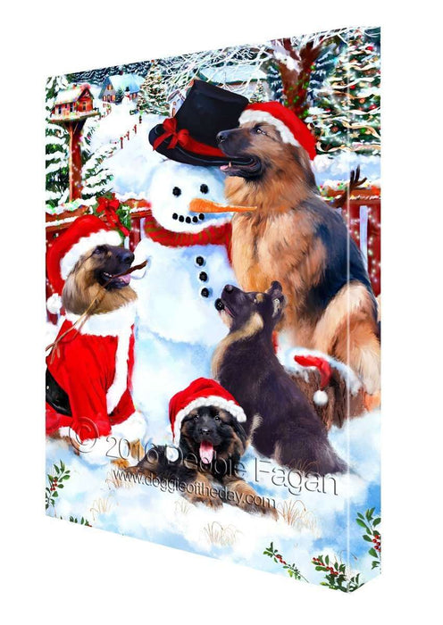 German Shepherd Dog and Puppies Building a Christmas Snowman Canvas