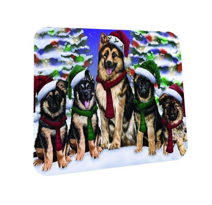 German Shepherd Dog Christmas Family Portrait in Holiday Scenic Background Coasters Set of 4