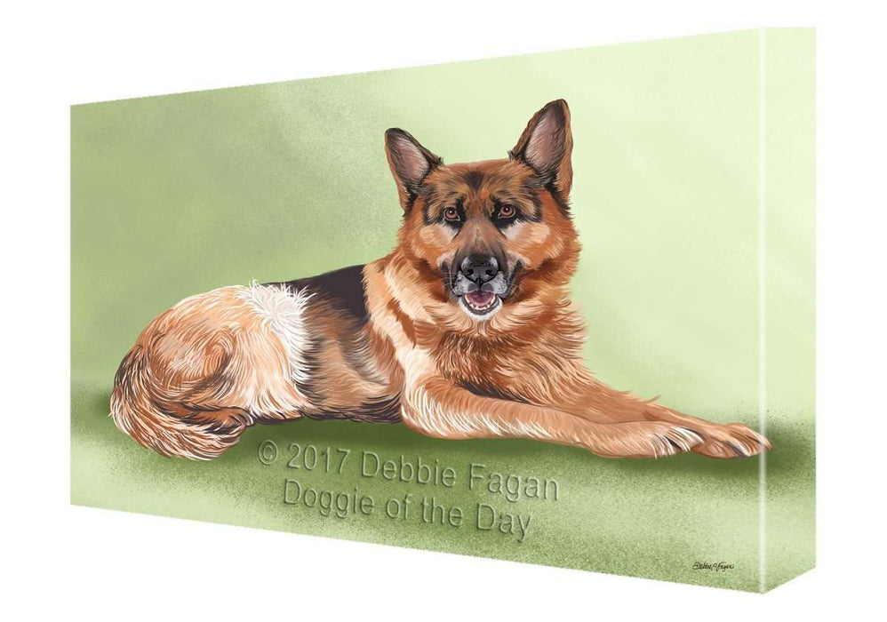 German Shepherd Dog Painting Printed on Canvas Wall Art Signed