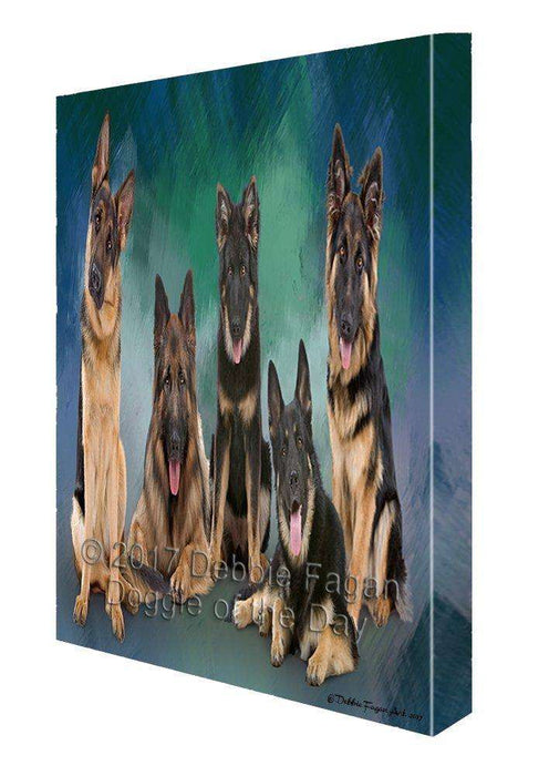 German Shepherd Dog Painting Printed on Canvas Wall Art
