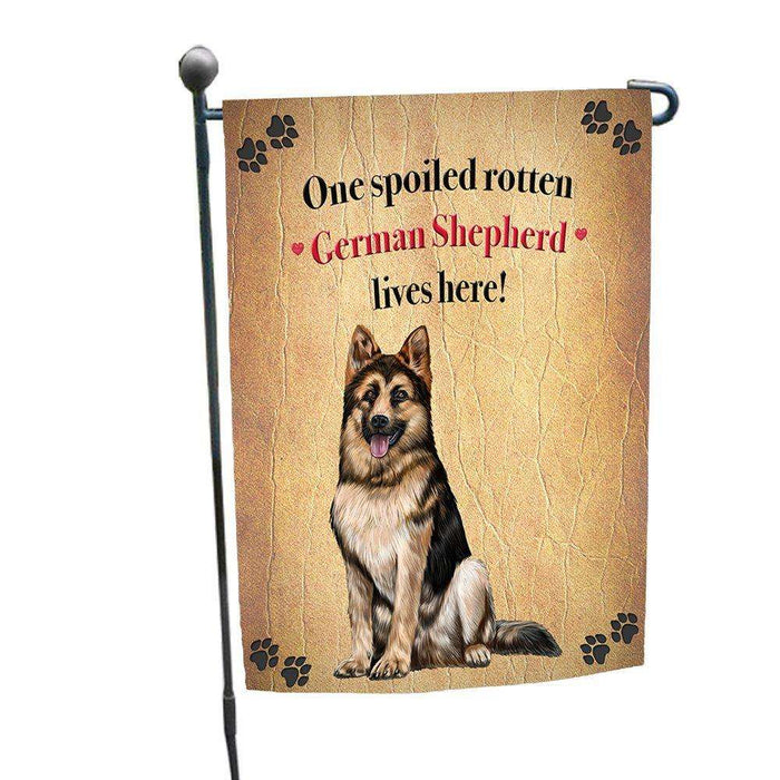 German Shepherd Spoiled Rotten Dog Garden Flag
