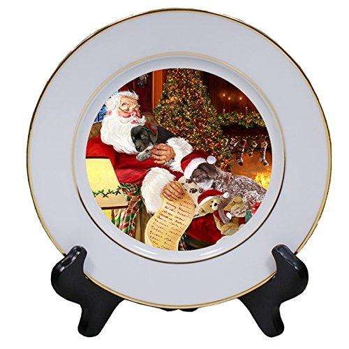 German Shorthaired Pointer Dog and Puppies Sleeping with Santa Porcelain Plate