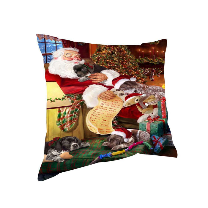 German Shorthaired Pointer Dog and Puppies Sleeping with Santa Throw Pillow