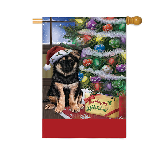 Personalized Christmas Happy Holidays German Shepherd Dog with Tree and Presents Custom House Flag FLG-DOTD-A58686