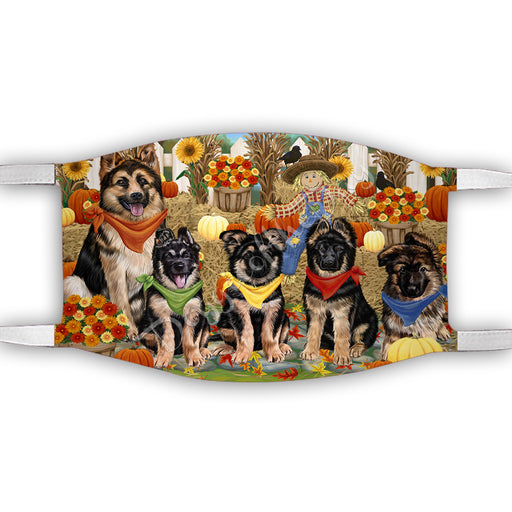 Fall Festive Harvest Time Gathering  German Shepherd Dogs Face Mask FM48538