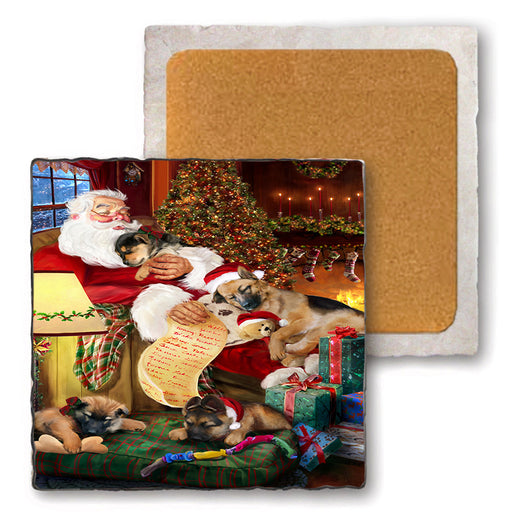 Set of 4 Natural Stone Marble Tile Coasters - German Shepherds Dog and Puppies Sleeping with Santa MCST48102
