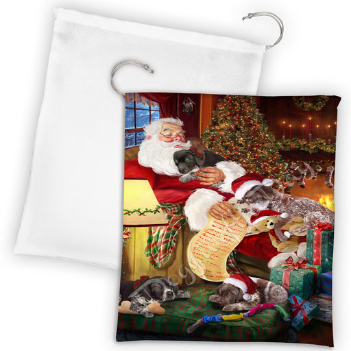 Santa Sleeping with German Shorthaired Pointer Dogs Drawstring Laundry or Gift Bag LGB48812