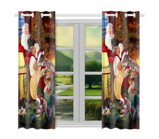 Santa Sleeping with German Shorthaired Pointer Dogs Window Curtain