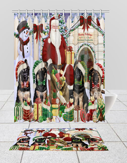 Happy Holidays Christmas German Shepherd Dogs House Gathering Bath Mat and Shower Curtain Combo