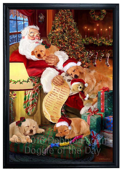 Golden Retriever Dog and Puppies Sleeping with Santa Framed Canvas Print Wall Art